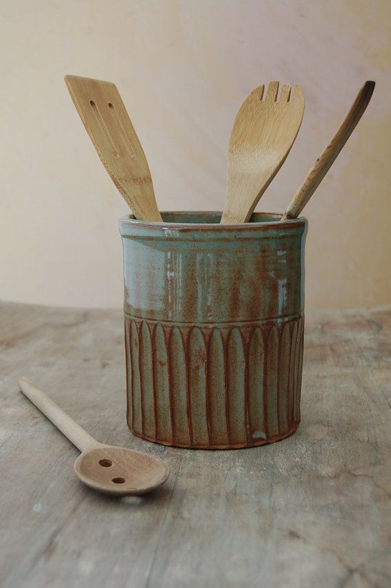 Stoneware Utensil Crock by Jennifer Burke Pottery:#burke #crock #jennifer #pottery #stoneware #utensil