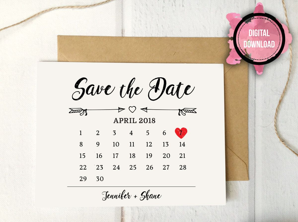 Digital Save The Date Rustic Calendar Save The Date PDF Printable - Save the date calendar template