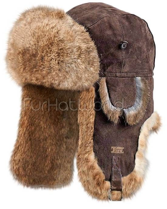 Brown Suede Leather Rabbit Fur Aviator Hat for Men in 2019  48b19fa3e157