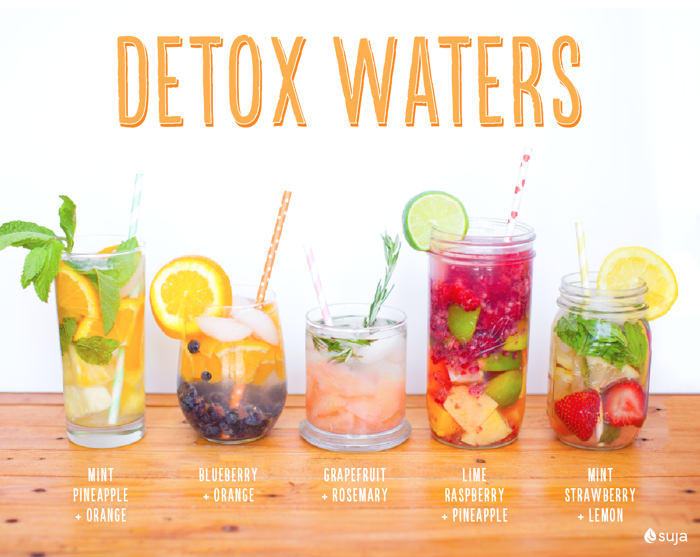 There's no better way to up your water intake than infusing it with some fresh fruits & herbs! Try some of these delish mixes!