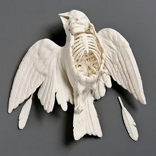 This piece of ceramic looks amazing because it shows the inside of a decaying bird and it looks to be about the same size/scale of a real life bird.