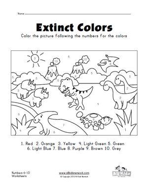 Dinosaurs Color By Numbers 1 10 Worksheet Numbers Preschool Dinosaur Coloring Color By Numbers