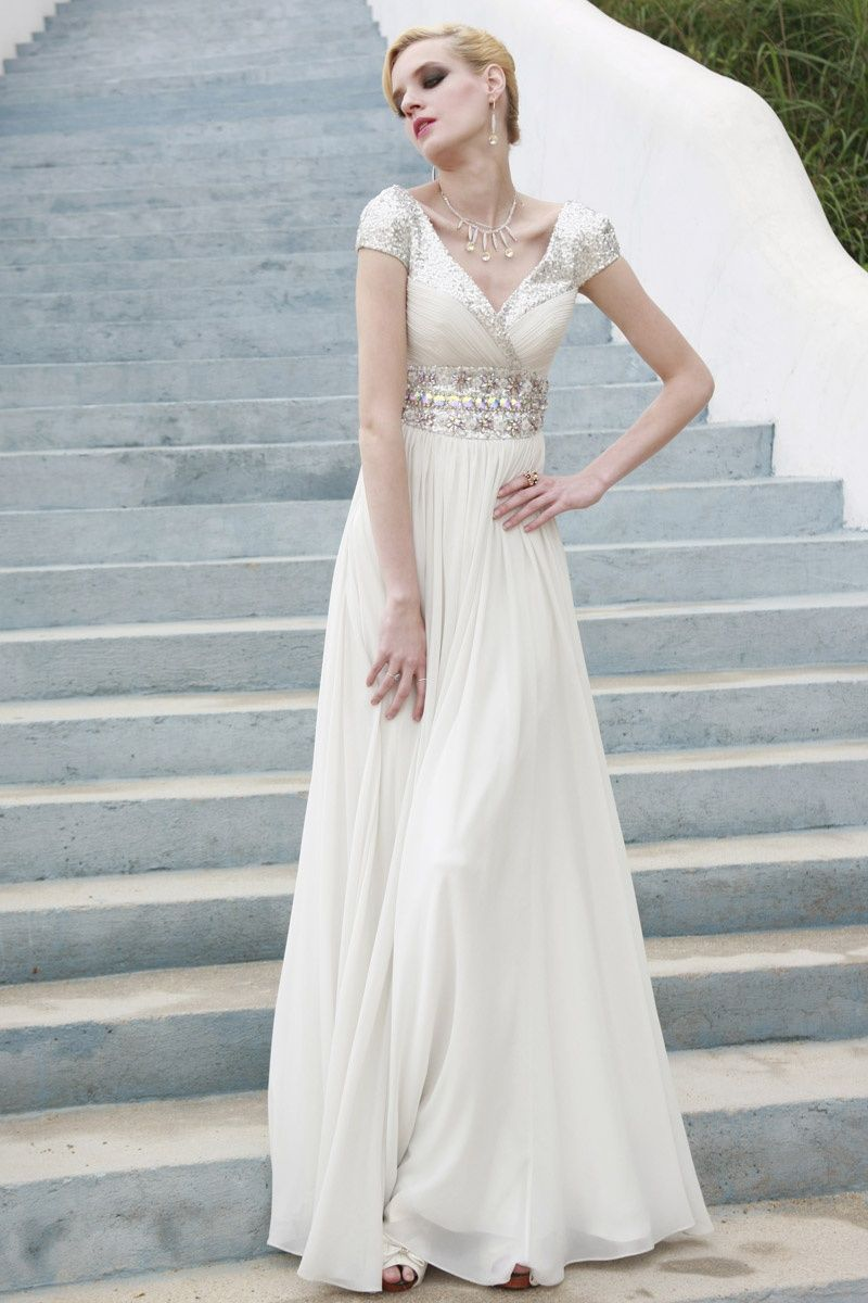 White Empire Wedding Dress with Pearl Embellished Belt | Women ...