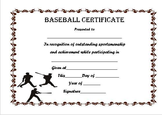 Baseball Certificate Template Word Printables Pinterest