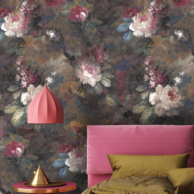 Ava Marika Supersized Moody Floral Wallpaper Wallpaper