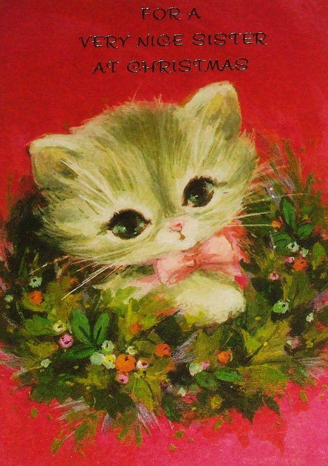 Kitten Christmas Cards.Vintage Kitty Christmas Card Belive In Christmas Vintage