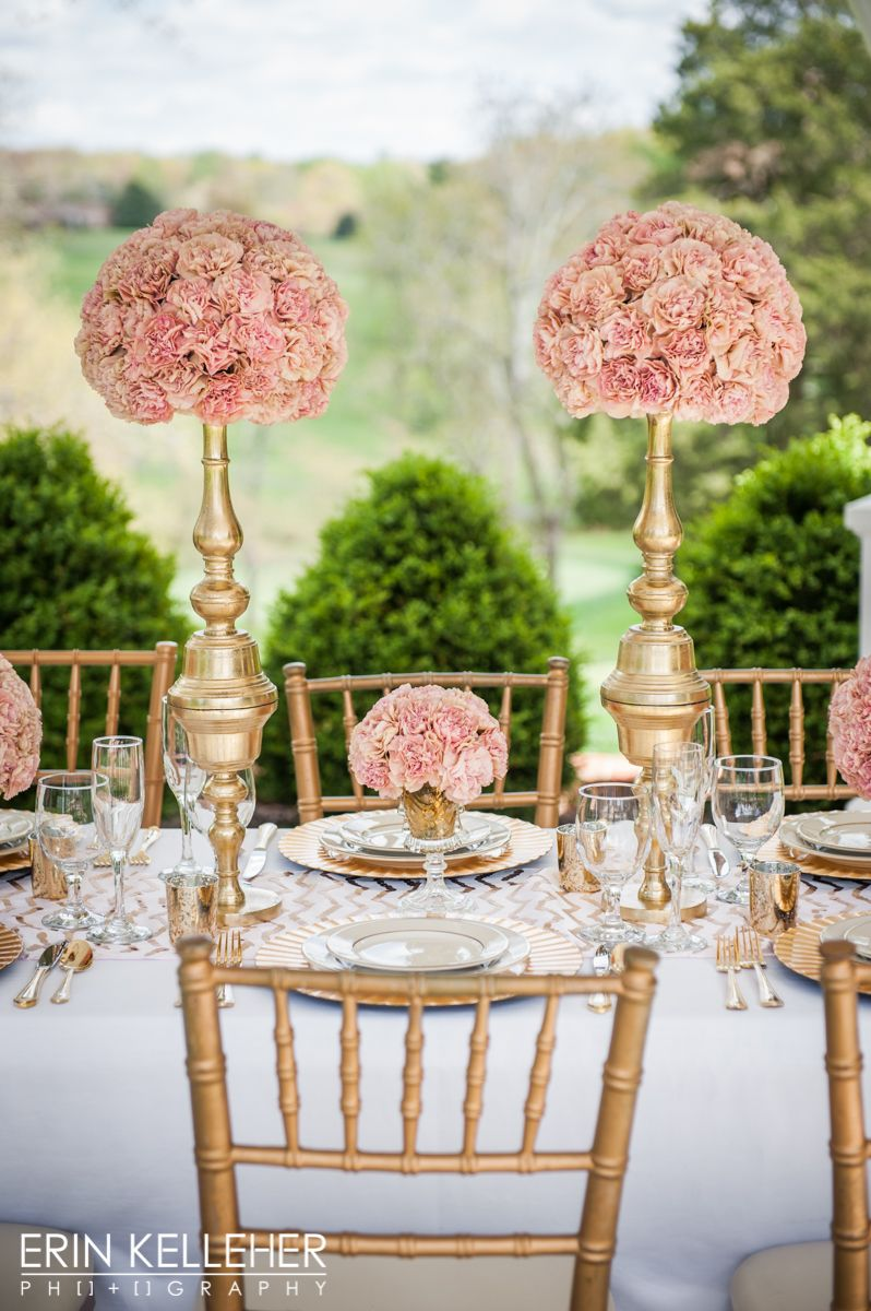 Luxury wedding table scape of pink creole carnations paired with luxury wedding table scape of pink creole carnations paired with gold candlesticks and pedestal vases reviewsmspy