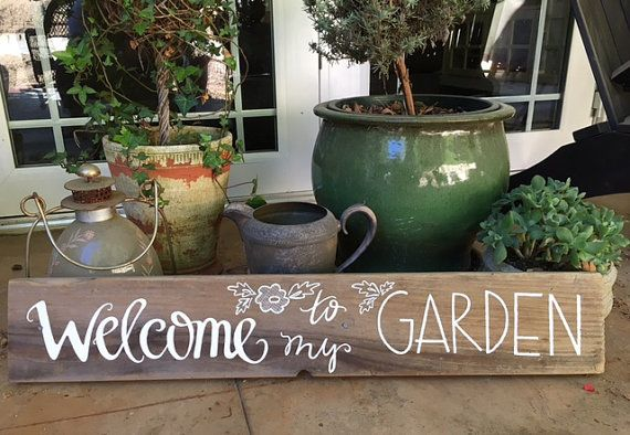 Wooden Welcome to my garden sign by pineappleNpolkadots on Etsy
