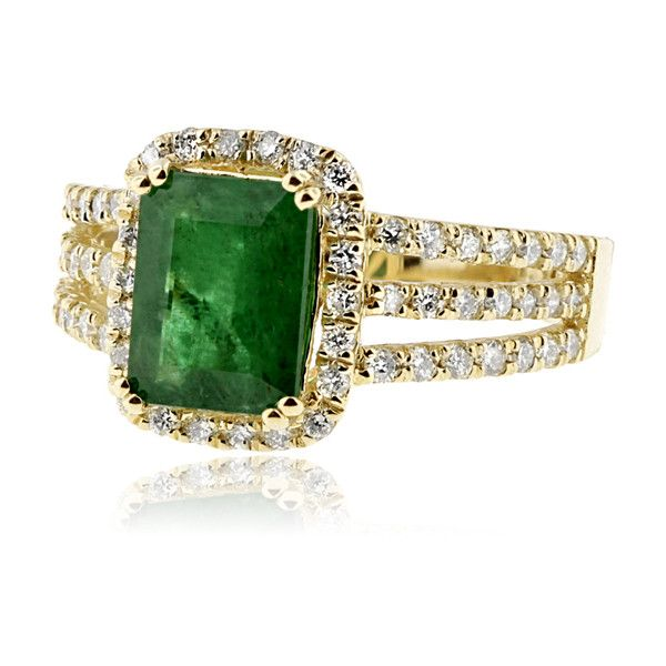 Effy Jewelry Effy Brasilica 14K Yellow Gold Emerald and Diamond Ring,... (637850 DZD) ❤ liked on Polyvore featuring jewelry, rings, jewelry sets, emerald diamond ring, engagement rings, gold jewelry set, womens jewellery i gold emerald ring