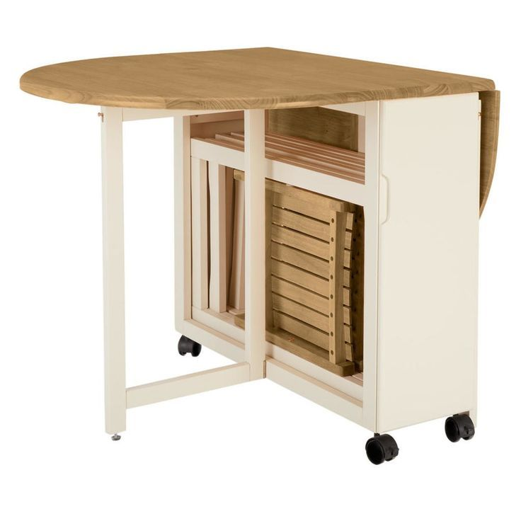 Drop Leaf Table Avec Chaises Pliantes Rangees A L Interieur En 2020 Chaise Pliante Table Salle A Manger Table Gain De Place