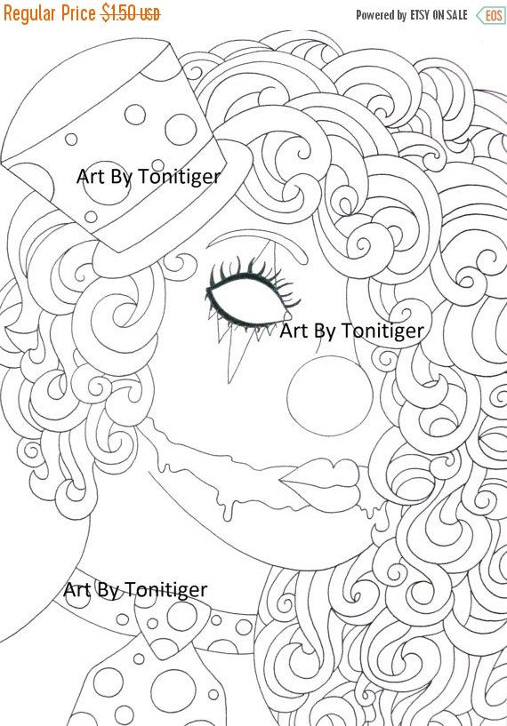 cijsale instant digital download coloring page scary clown girl lineart why so serious downloadable art black