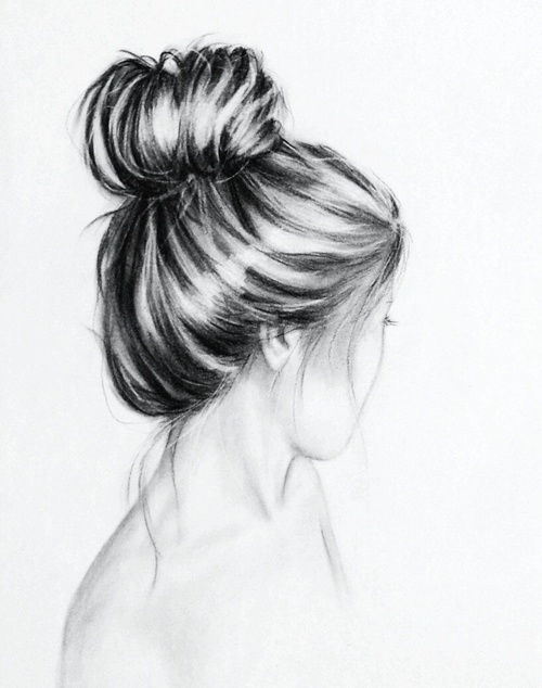 Http Www Hairstyles Haircuts Com Girl With Bun Art Charcoal Drawing Drawings