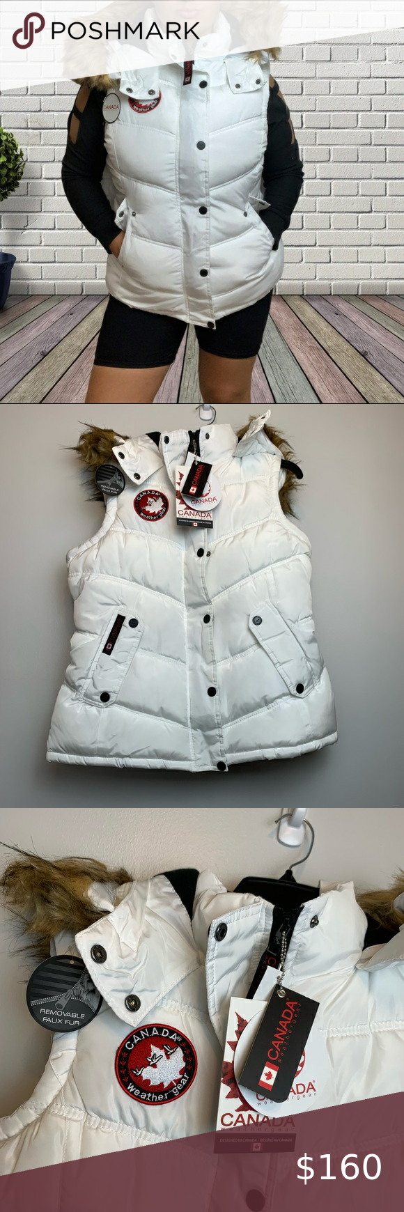 Nwt Canada Weather Gear White Puffer Vest Size L White Puffer Vest Clothes Design Jackets For Women [ 1740 x 580 Pixel ]