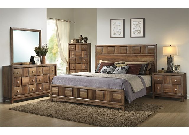 5 Pc Malaysia Collection Transitional Style Light Walnut Finish Wood Queen Bedroom Set With Low Footboard