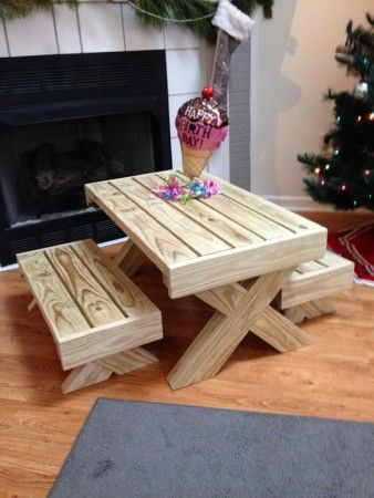 birthday gift picnic table do it yourself home projects from ana white playground. Black Bedroom Furniture Sets. Home Design Ideas