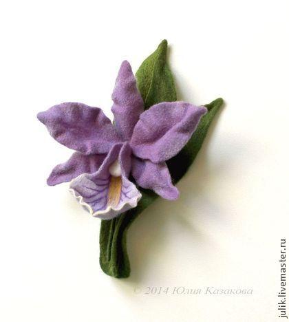 """Войлочная <em>войлок</em> брошь """"Каттлея"""" - орхидея,сиреневый,цветы,броши,украшения,войлок"""