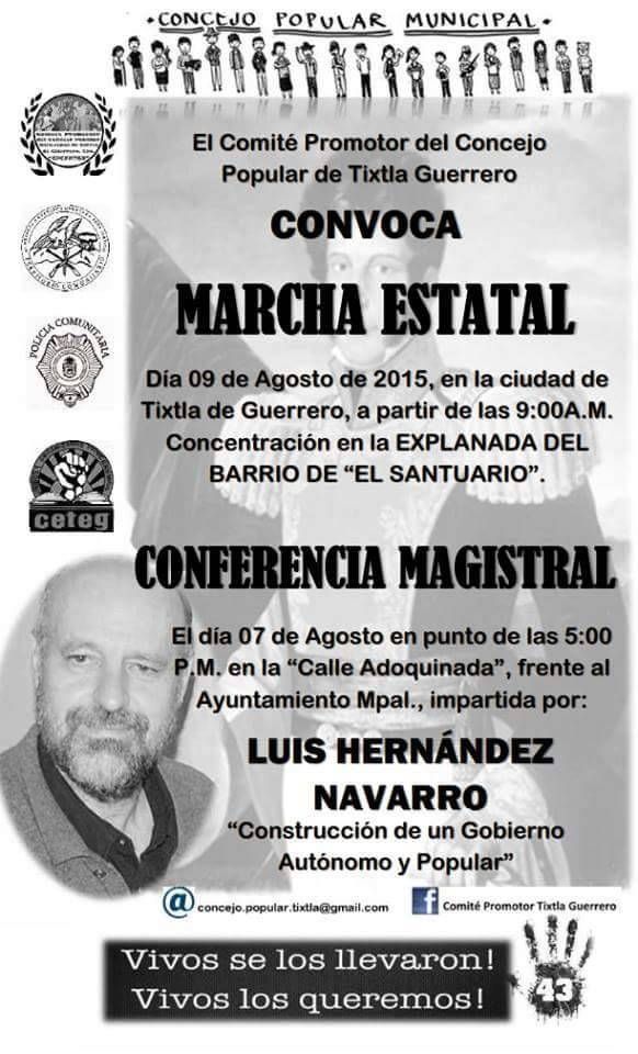 #Ayotzinapa: MARCHA ESTATAL, TIXTLA, GUERRERO, 9 de agosto, a las 9 horas