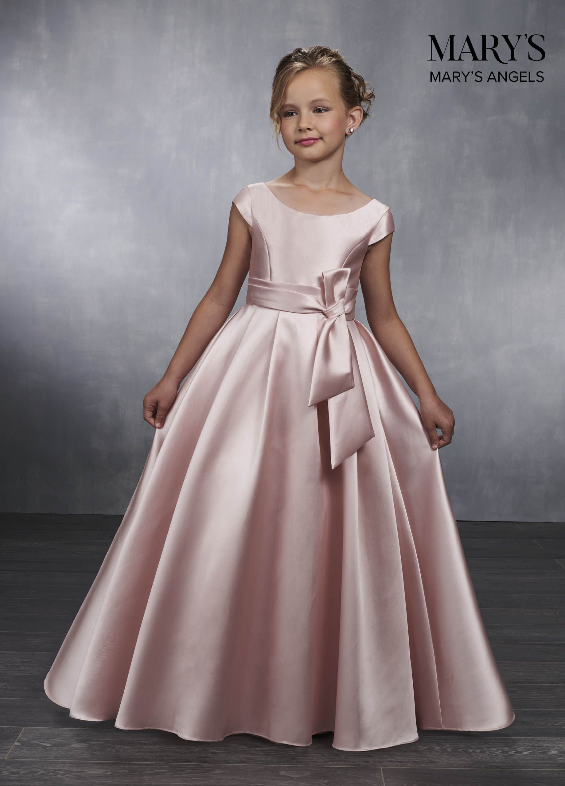 5c9b742aa95 Mikado flowergirl ball gown with boat neck