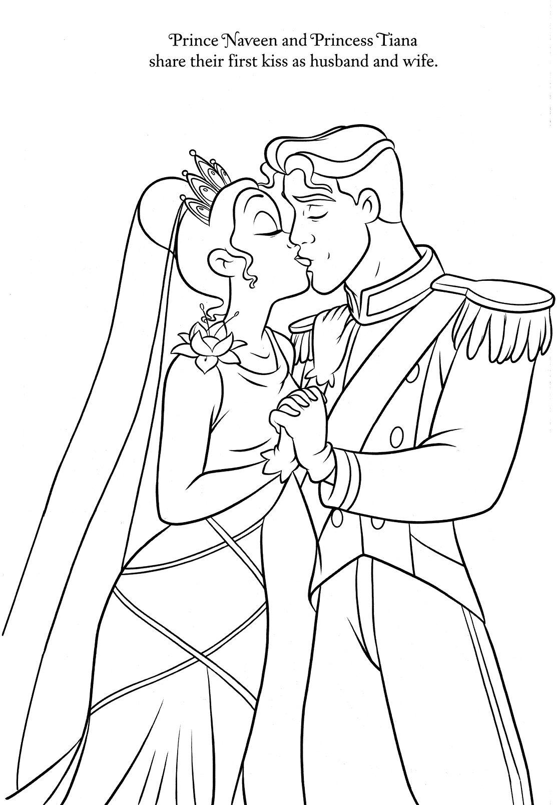 Tiana & Prince Naveen  Frog coloring pages, Princess coloring