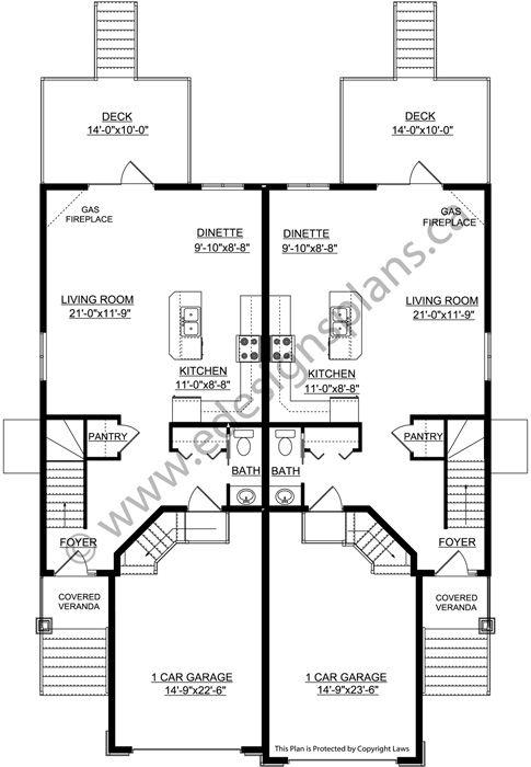 Duplex Plan 2011561 By Edesignsplans Ca Duplex Plans Duplex House Plans Duplex