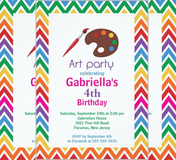 Kids Invitation Template Free PSD Vector EPS AI Format - Paint party invitation template free