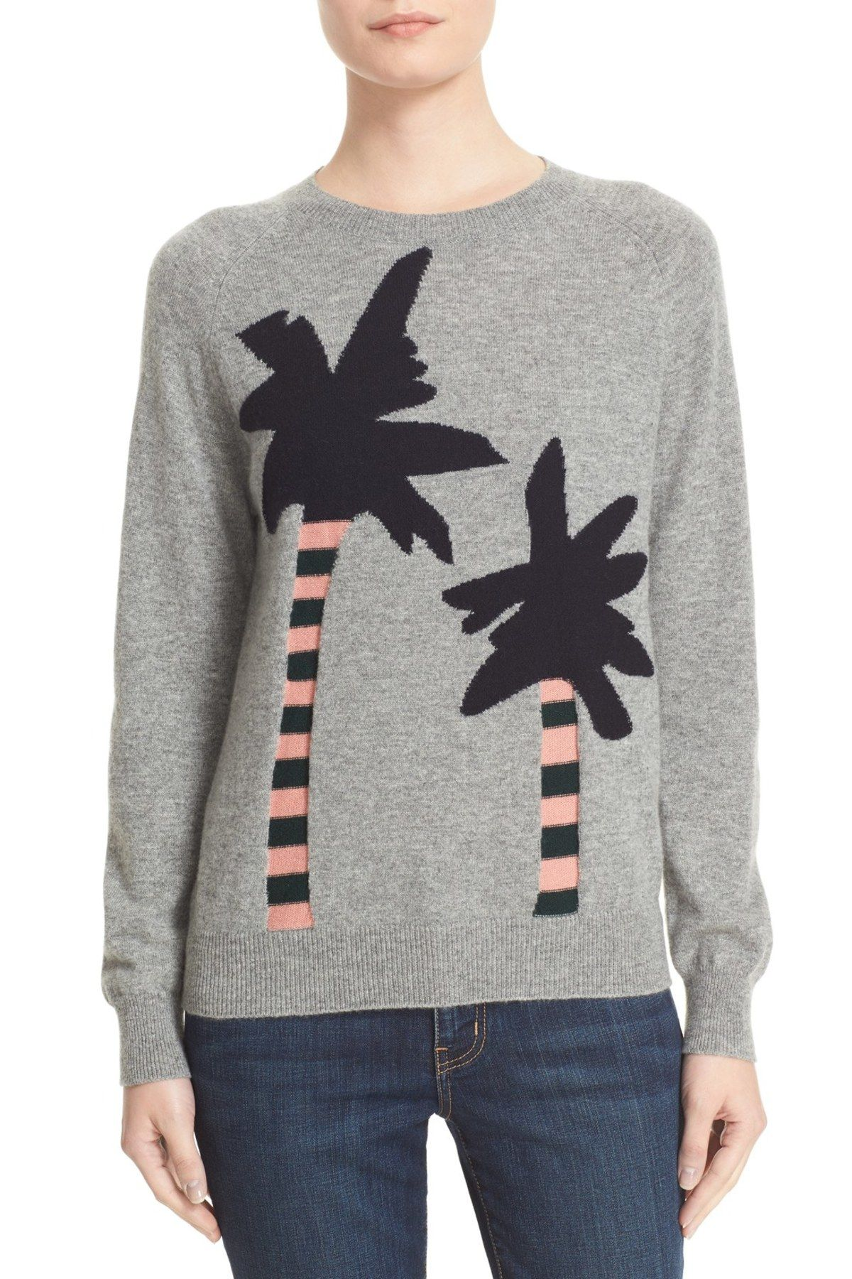 Reverse Intarsia Palm Tree Cashmere Sweater | Products