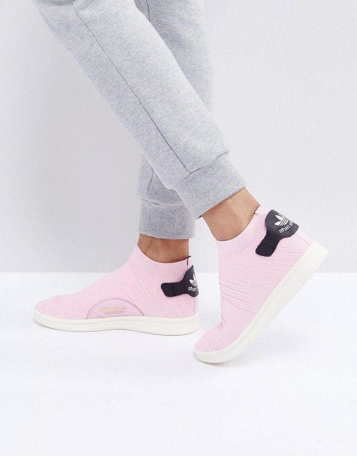 adidas Pink Stan Smith Primeknit Sock Sneakers   Adidas