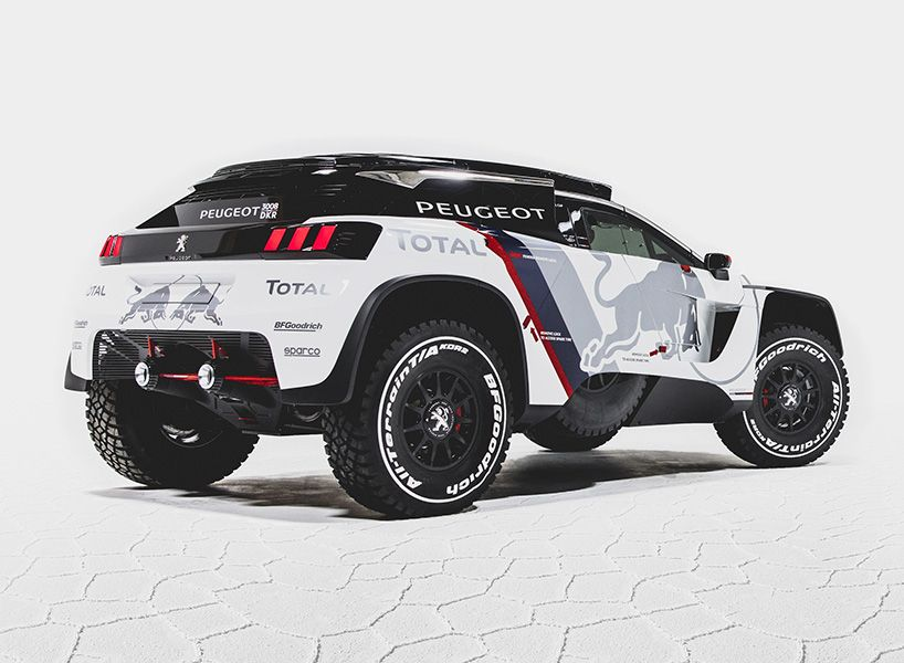 peugeot 3008 dkr race car reveals its aggressive bodywork | ralli