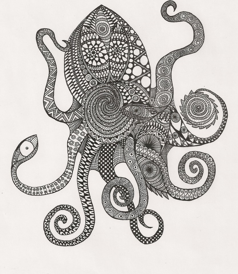 Abstrakcyjne Kolorowanki Dla Dzieci I Doroslych Abstract Coloring Pages Octopus Coloring Page Ink Pen Drawings
