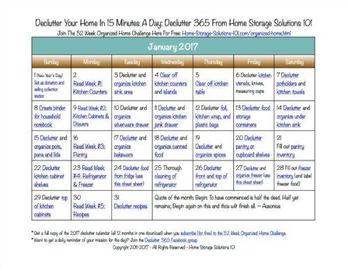 January Declutter Calendar: 15 Minute Daily Missions For Month ...