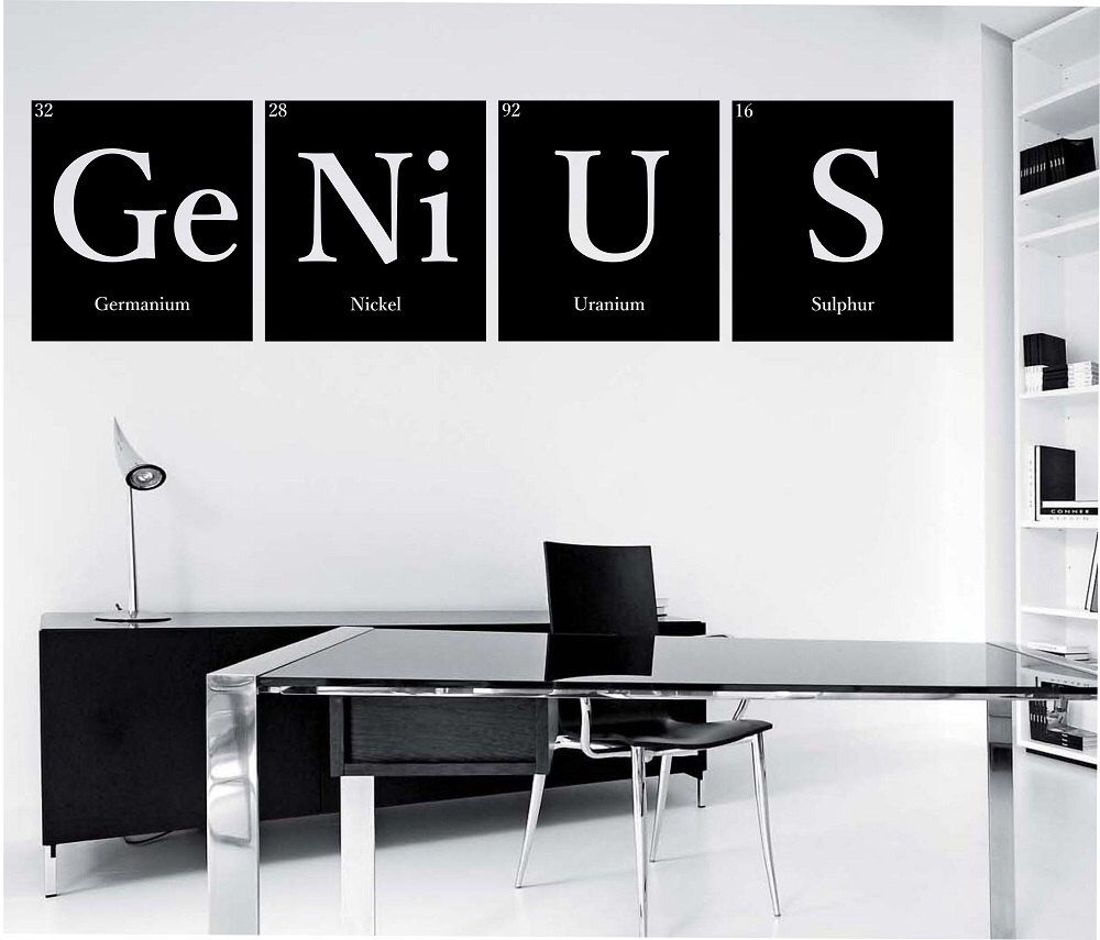 Genius Periodic Table Elements Vinyl Wall Decal Sticker Art Decor Bedroom Design Mural Science Geek Nerd