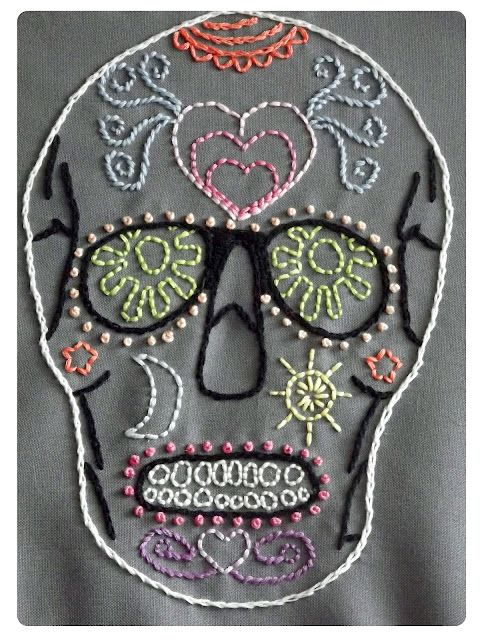 Sugar Skull Embroidery by LaFemmeKnitkita, pattern by Elemental Stitches