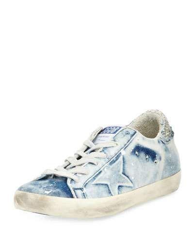 12c9793f5ec26 GOLDEN GOOSE DENIM LOW-TOP SNEAKER, BLEACHED. #goldengoose #shoes ...