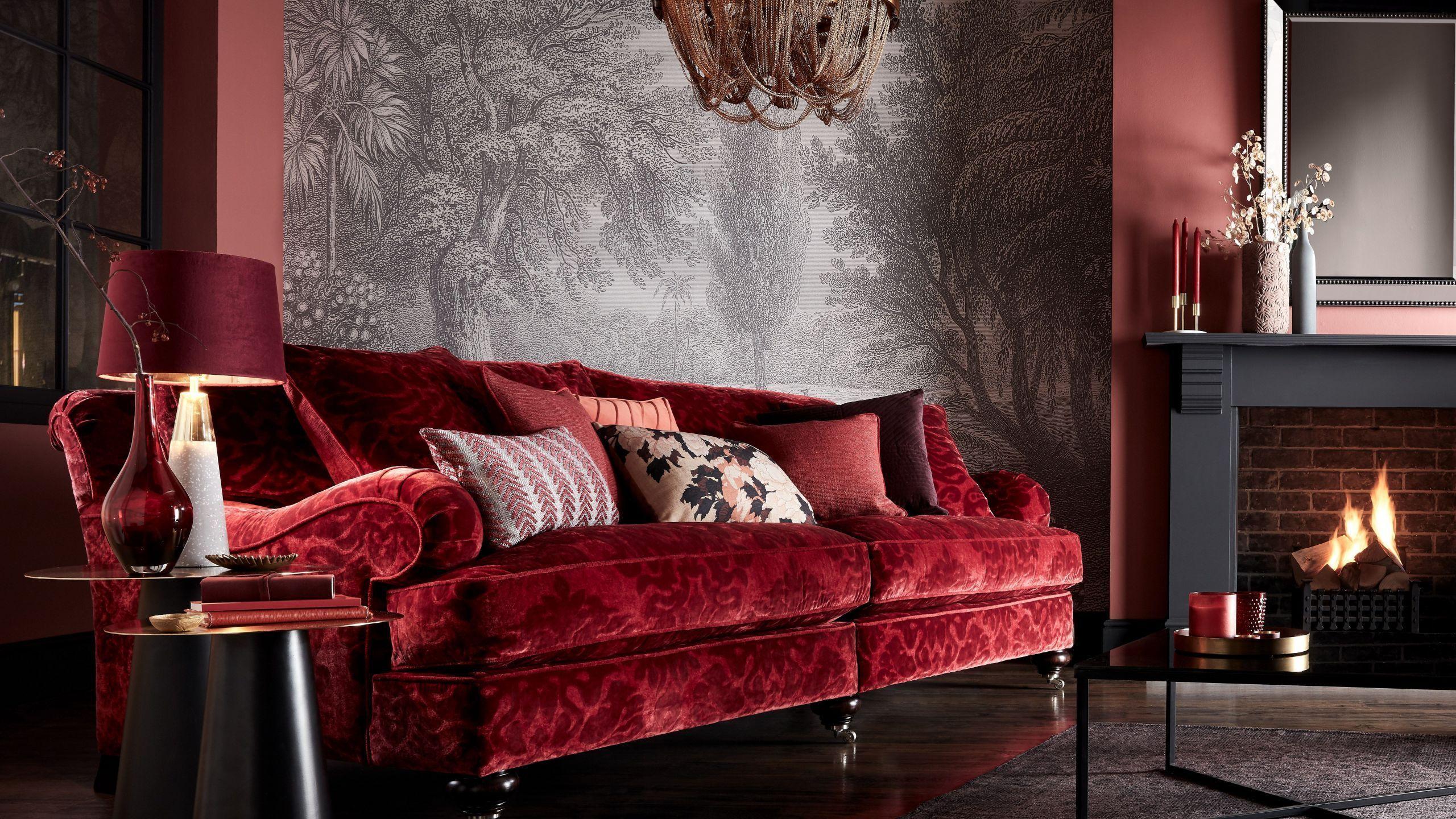 Atemberaubende rot braun schwarze Wohnzimmer Design Ideen DIE