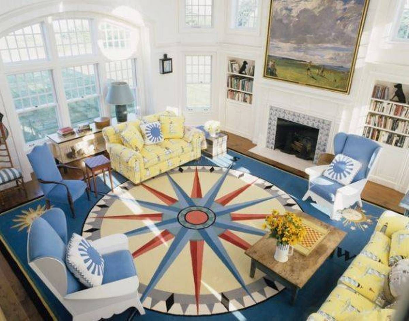 nautical living room decorating ideas with compass area rug