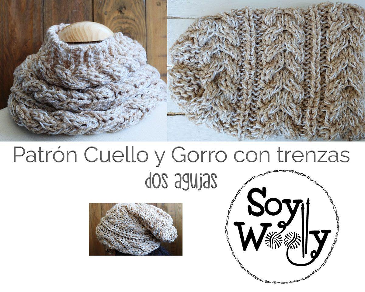Patrón para tejer un Cuello y un Gorro con trenzas (dos agujas | Crochet
