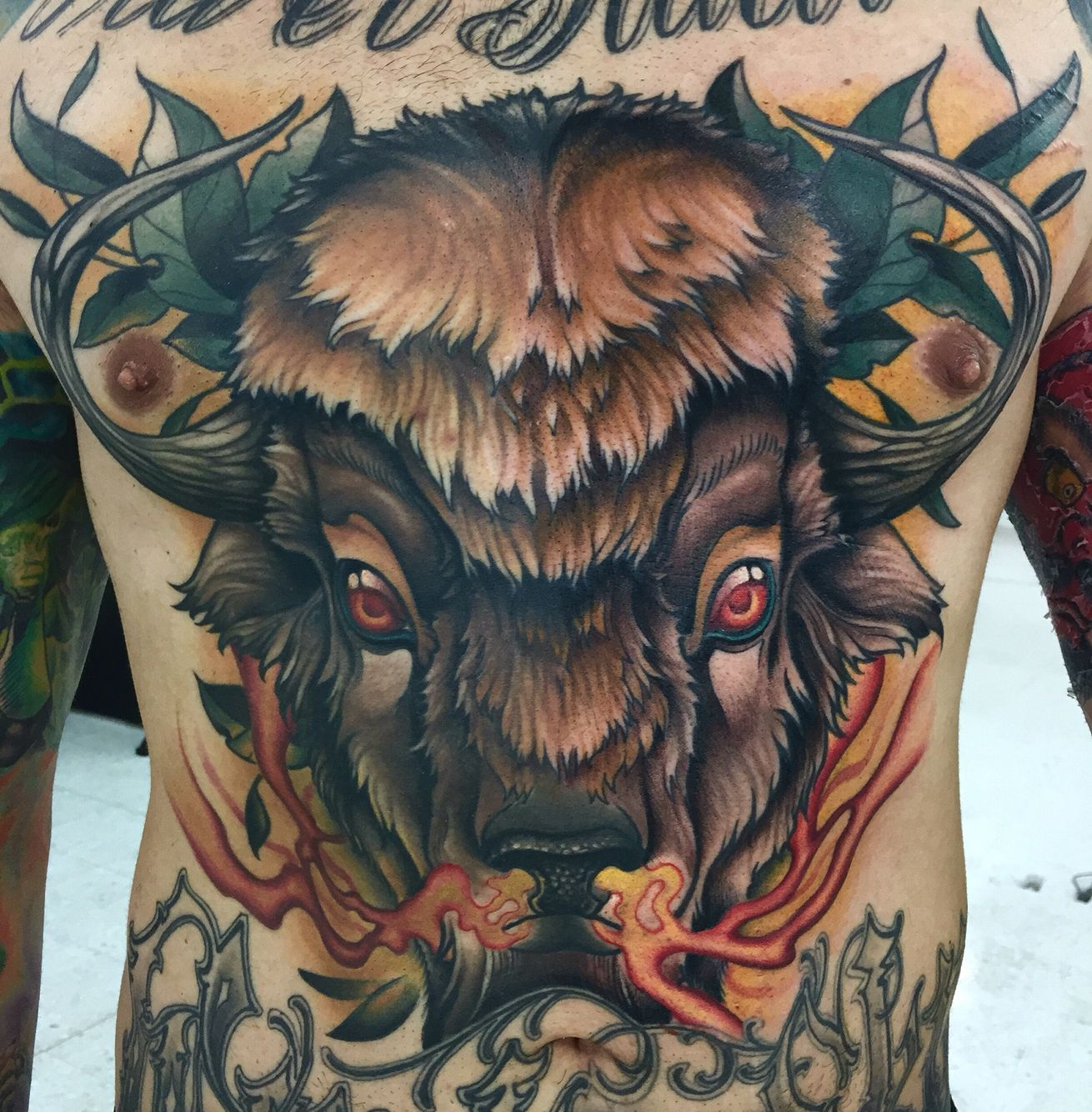 Buffalo Tattoo By Javier Franco Bull Tattoos Ox Tattoo Buffalo Tattoo