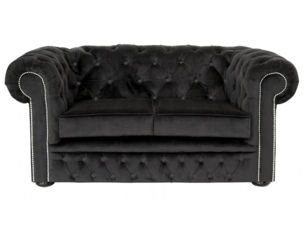 Black Velvet Chesterfield 2 Seater