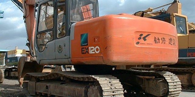 Gebrauchter Kettenbagger Hitatchi EX 120 http://www.baumaschinen.com/baumaschine/baumaschinen/ Used Hydraulic Excavator wizh japanes letters