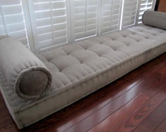 window french stripe ticking quilted tufted cushion listing mattress seat bench ivory custom il linen rroq