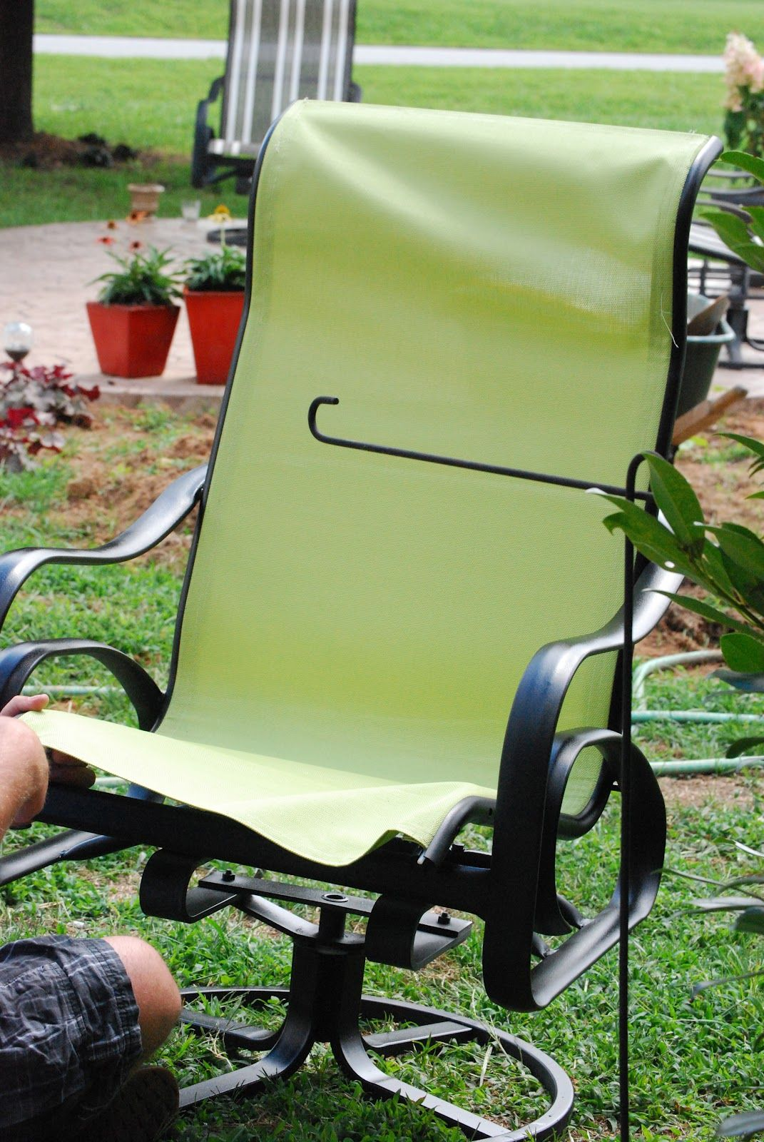 I recovered sling back chairs that were given to me!! EASY