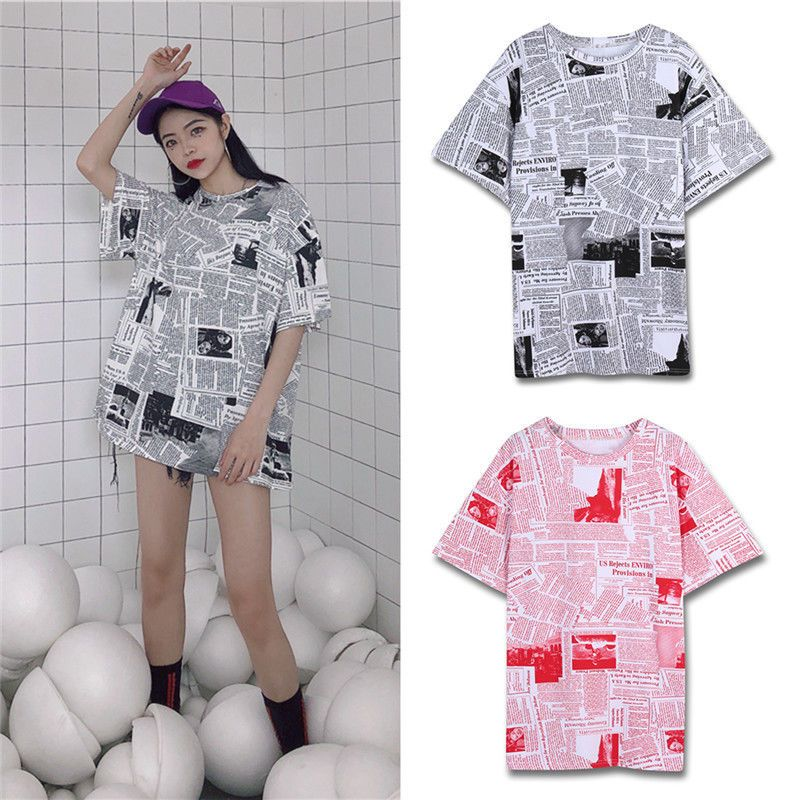 72de3e6a3 Hot Women Newspaper Printed T-shirt Crewneck Short Sleeves Loose Tee Top  Summer #Unbranded #Blouse #Casual