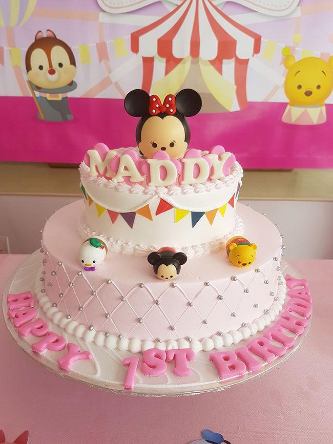 Tsum Tsum pink 1st birthday cake Tsum Tsum Party Decoration