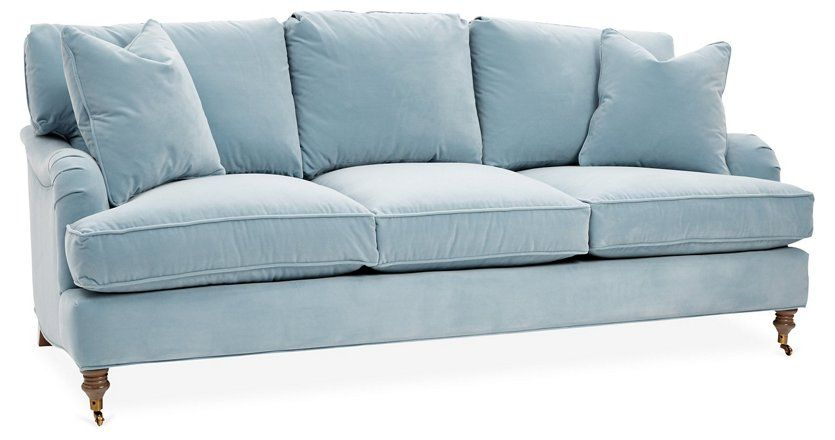 Brooke 3 Seat Sofa Light Blue 2 595 00 In 2020 Light Blue Sofa Sofa Sofa Drawing