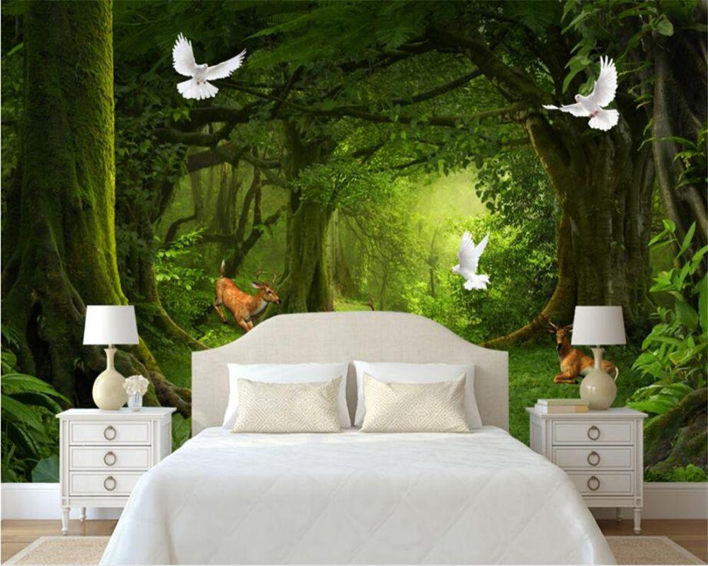 3d Wallpaper Modern Minimalist Natural Tree Forest Deer W