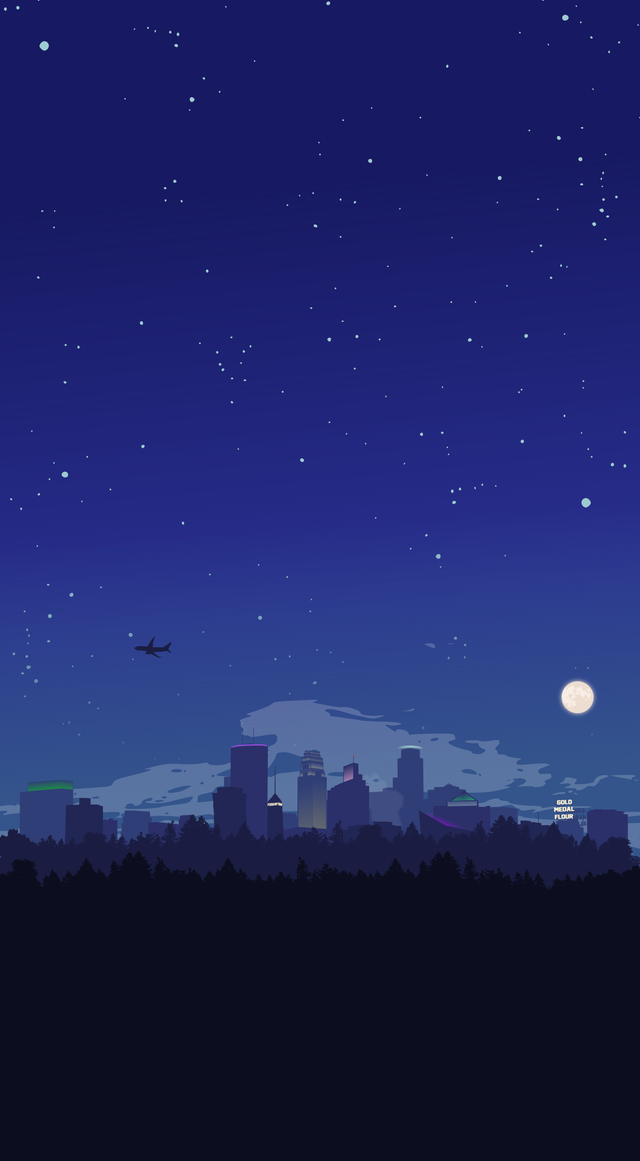 Felt inspired to make a night time mobile wallpaper for you, Minneapolis [OC]