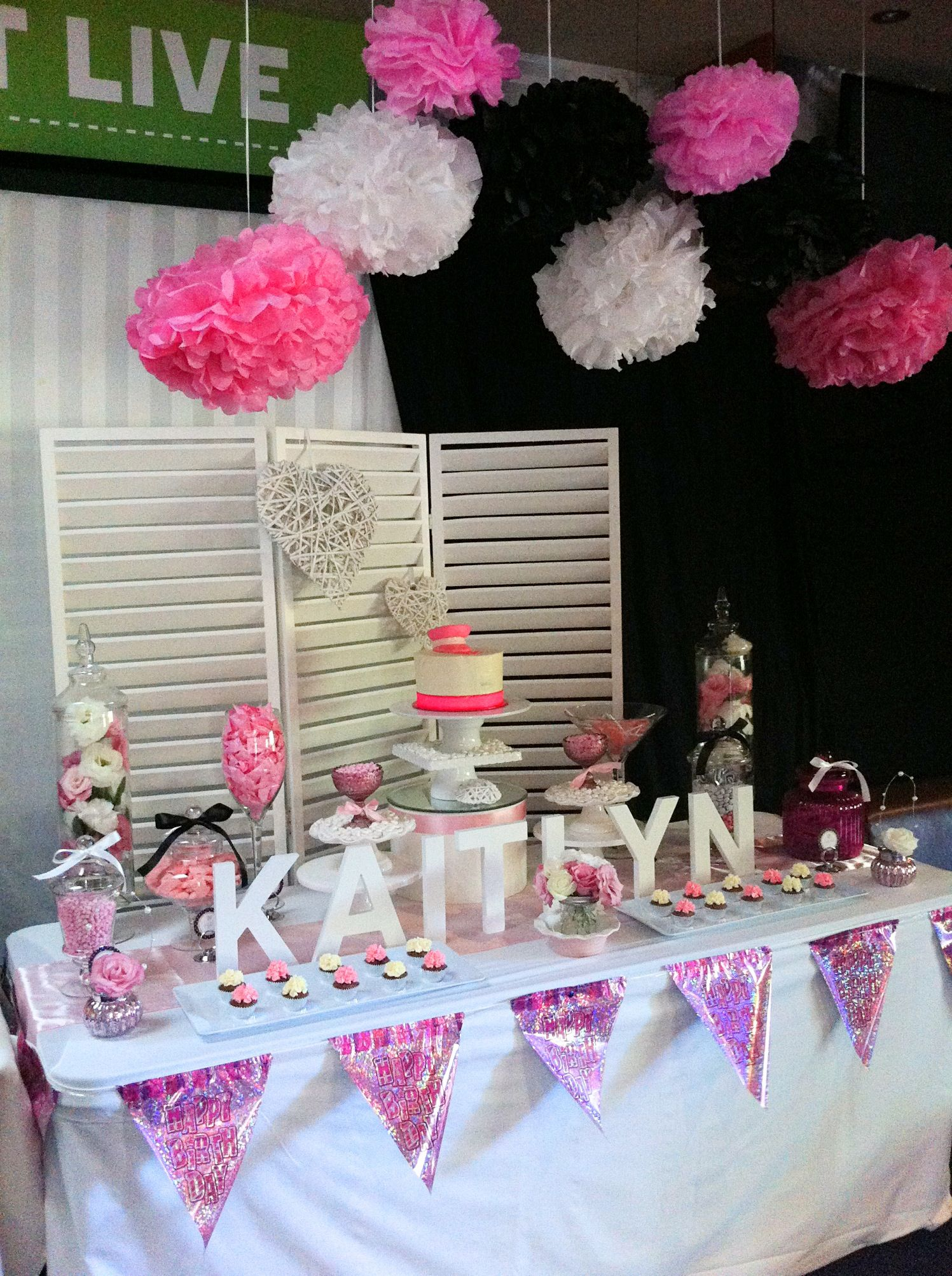 Pink black and white 21st candy buffetlolly buffet by Candy