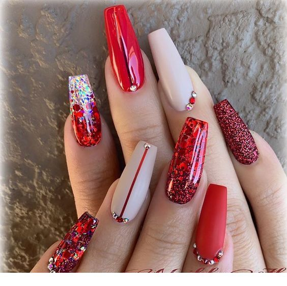 Red Christmas Nails Art Miladies Net Red Acrylic Nails Red Christmas Nails Nail Designs