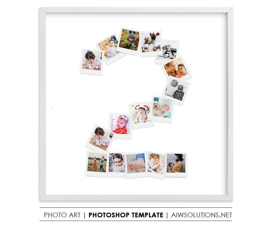 Two Year Old Birthday Gift Number 2 Photography Storyboard Number Two Collage Board Template Photos In Number 2 Photo Collage Template Trong 2020