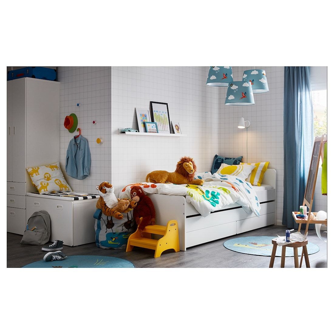 SLÄKT Bed frame w/pullout bed + storage, white, Twin